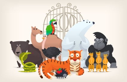 Illustration of zoo animals standing near zoo gates